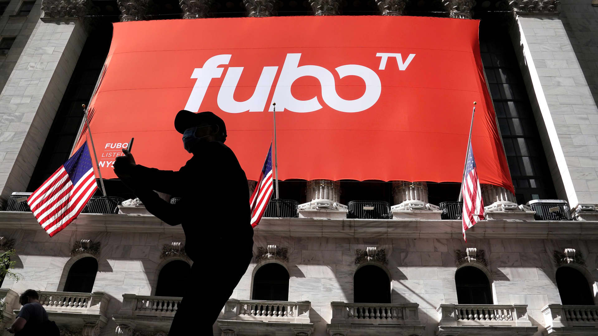 The fuboTV logo is hung from the New York Stock Exchange on the day of its IPO in the Manhattan borough of New York City, New York, U.S., October 8, 2020.