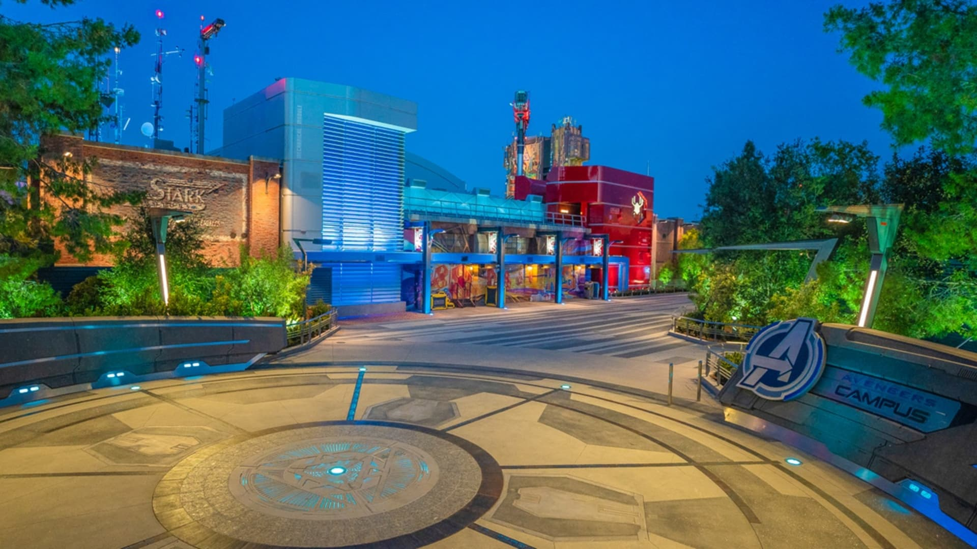 An entrance into Disney California Adventure's Avengers Campus.