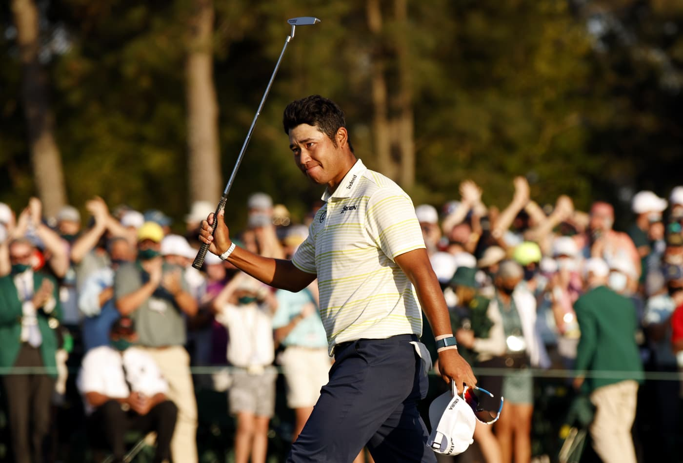 The Masters: Hideki Matsuyama survives late mistakes to win first men's major for Japan