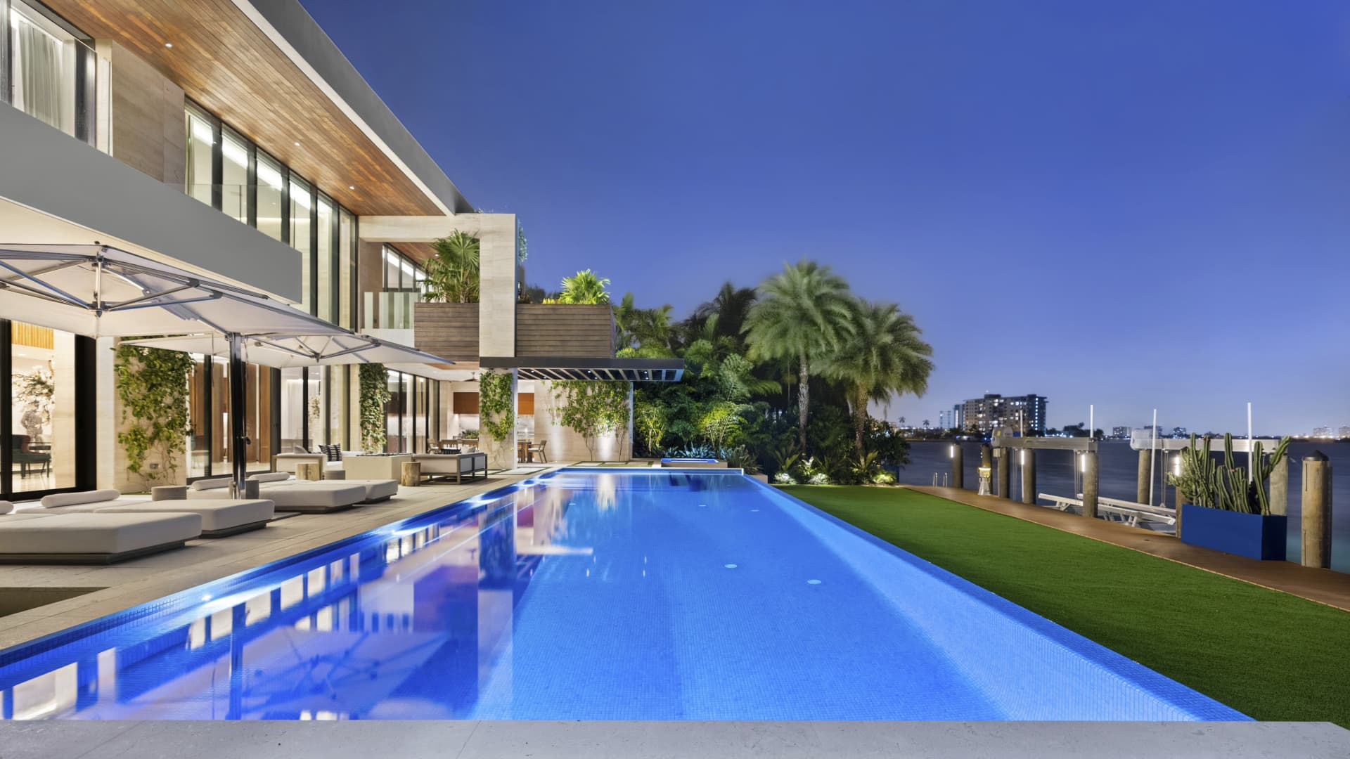 The pool and waterfront view at 224 Bal Bay Drive.