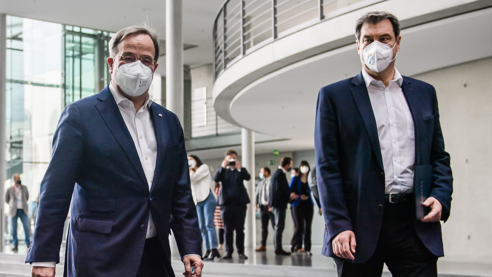Christian Democratic Union (CDU) party chairman Armin Laschet (L) and State Premier of Bavaria and Christian Social Union (CSU) chairman Markus Soeder.