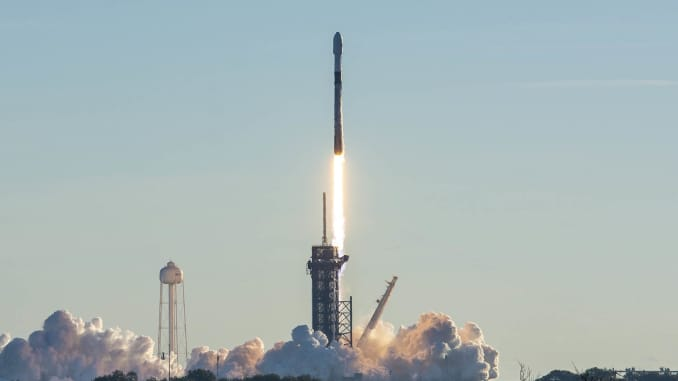 A Falcon 9 rockets launches a Starlink mission on January 20, 2021.