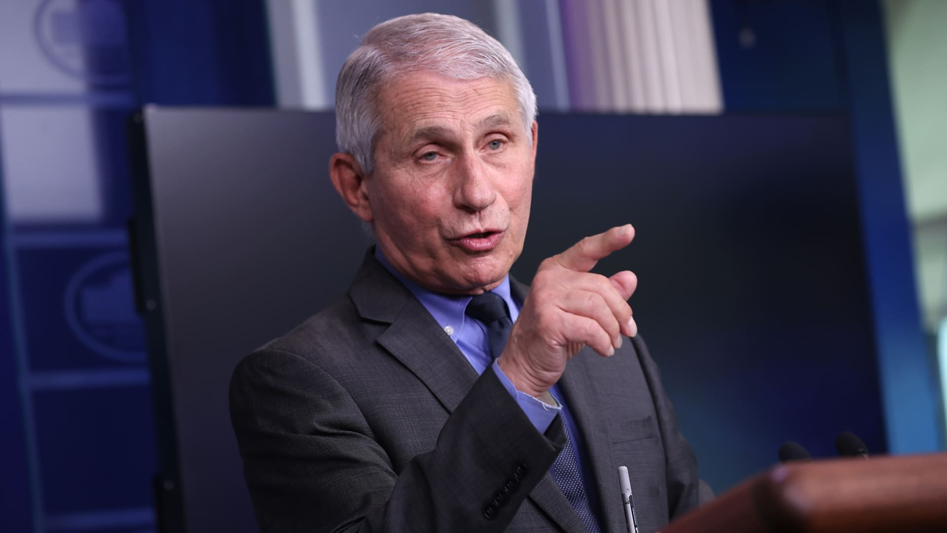 National Institute of Allergy and Infectious Diseases Director Dr. Anthony Fauci talks to reporters in the Brady Press Briefing Room at the White House on April 13, 2021 in Washington, DC.