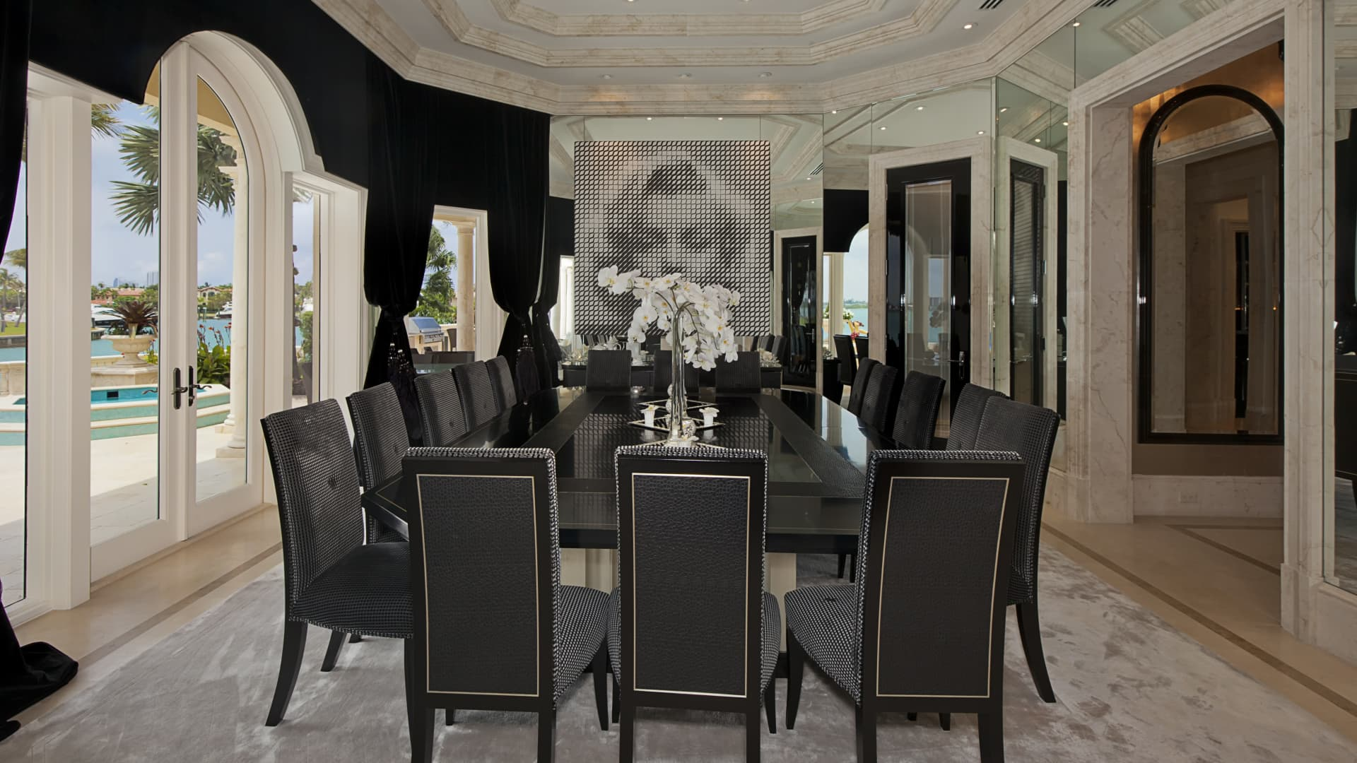 Dining room with Fendi designed furnishings.