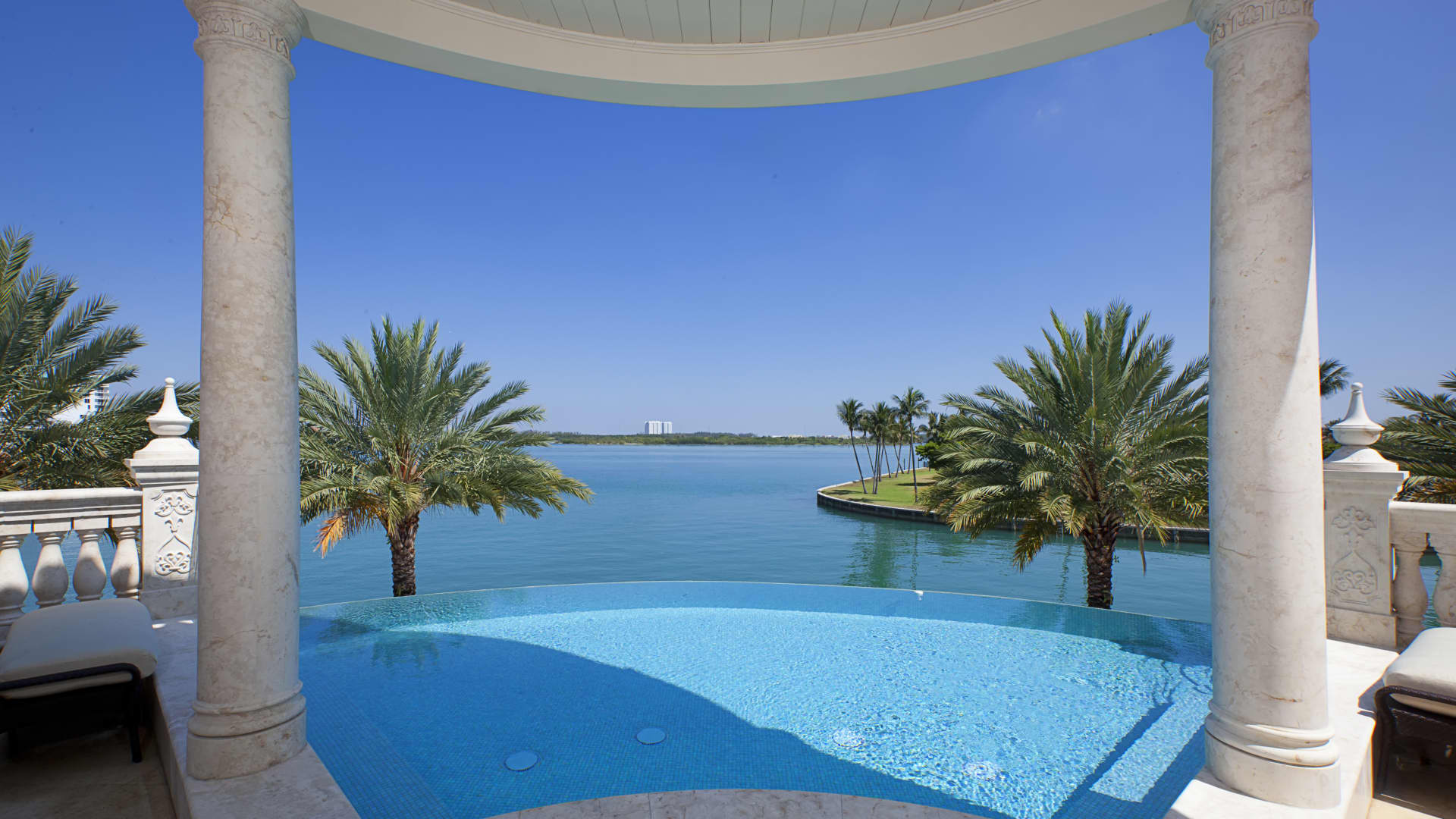 Off the owner's suite is a terrace and infinity pool.