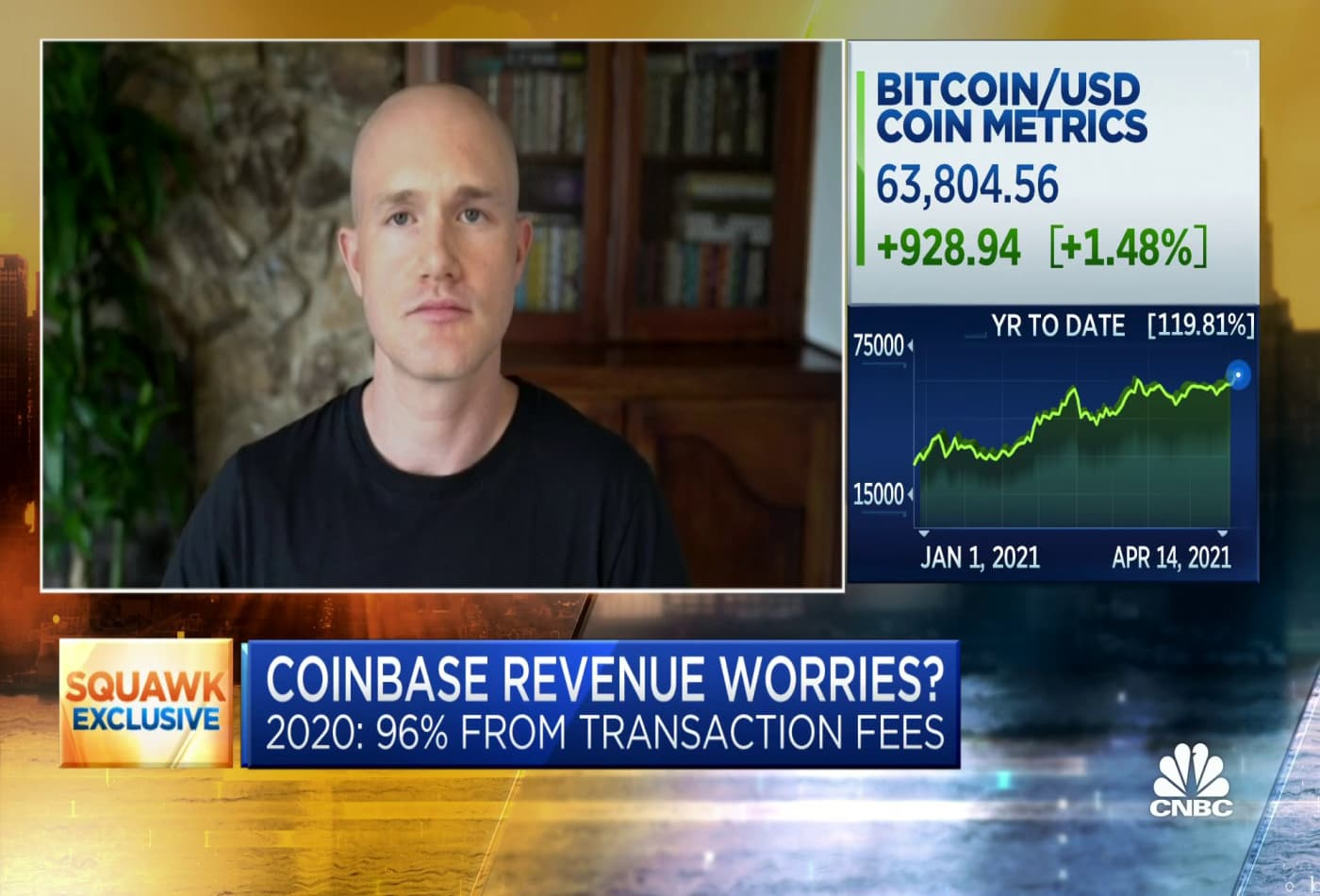 Coinbase CEO on how correlated the company's valuation is to the price of bitcoin