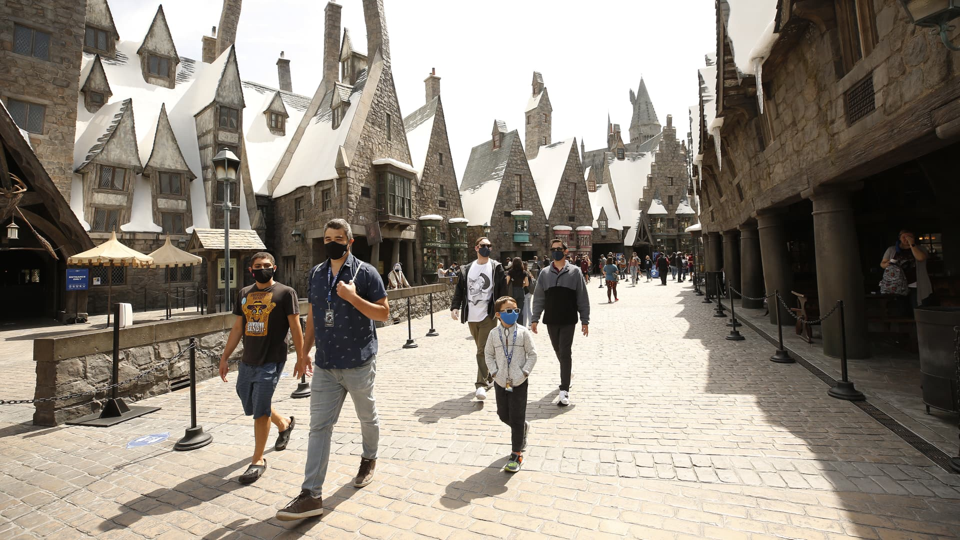 Guests in The Wizarding World of Harry Potter attraction as Universal Studios Hollywood is welcoming guests back to the Theme Park Friday, April 16 to experience the thrill rides and attractions.