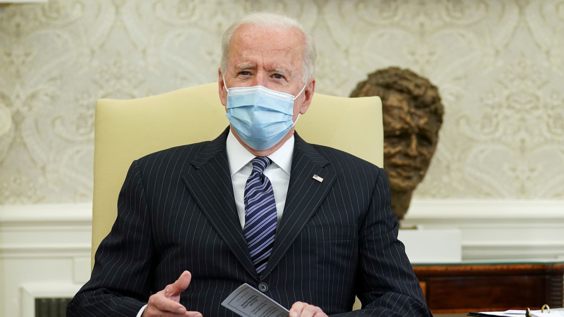 U.S. President Joe Biden holds a bi-partisan meeting on the American Jobs Plan at the White House in Washington, U.S., April 19, 2021.