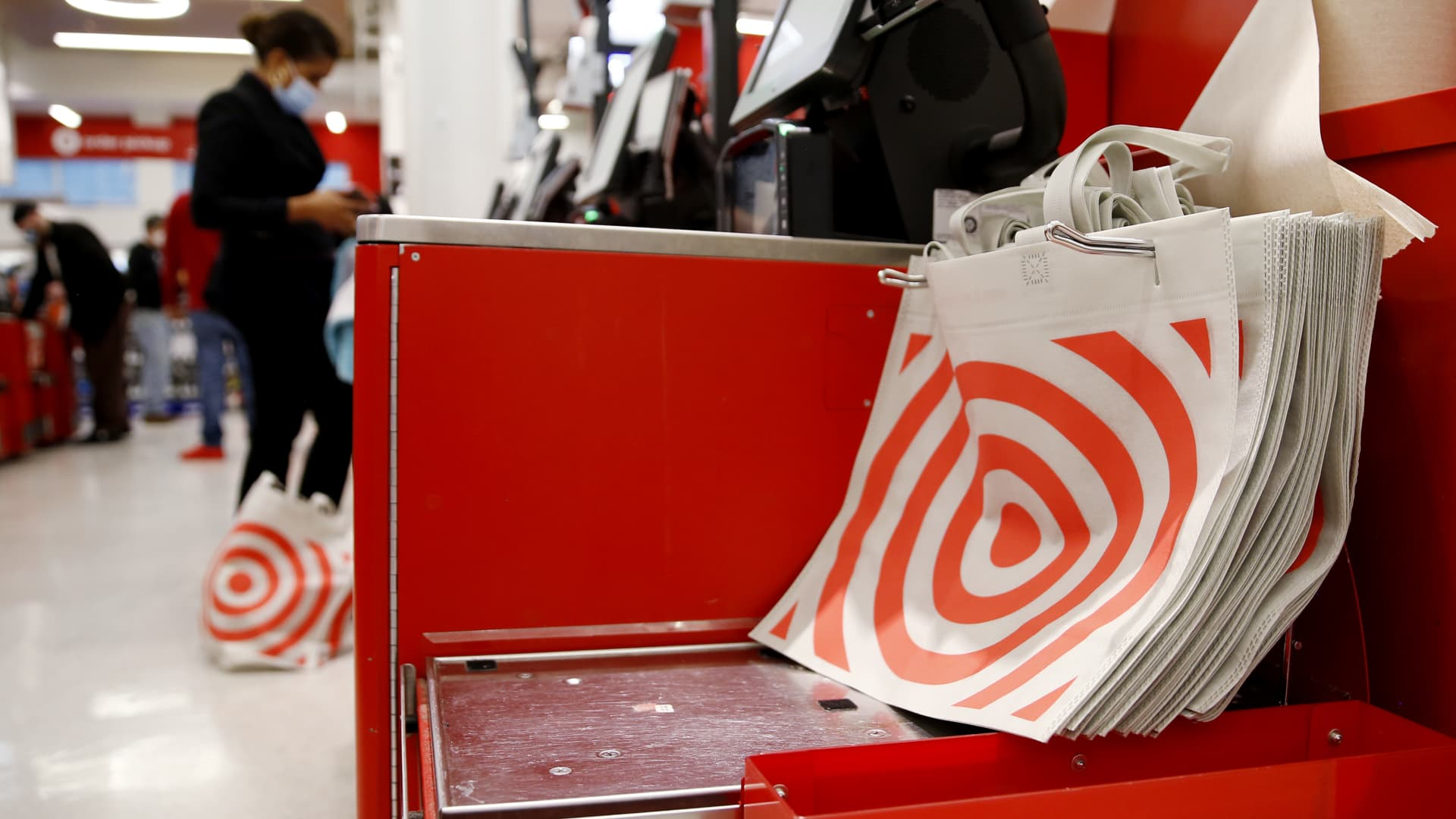 View of the reusable bags at Target Store on April 13, 2021 in New York.
