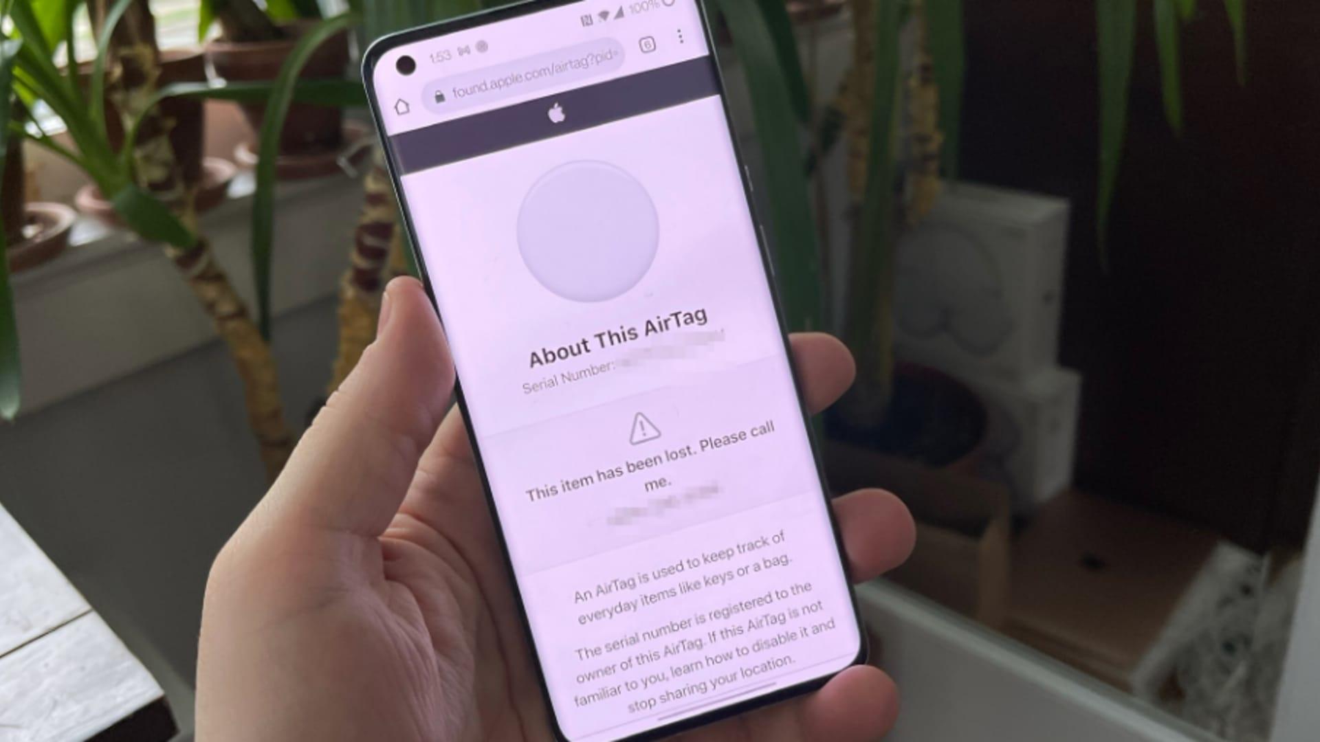 An Android phone can also help retrieve a lost AirTag.