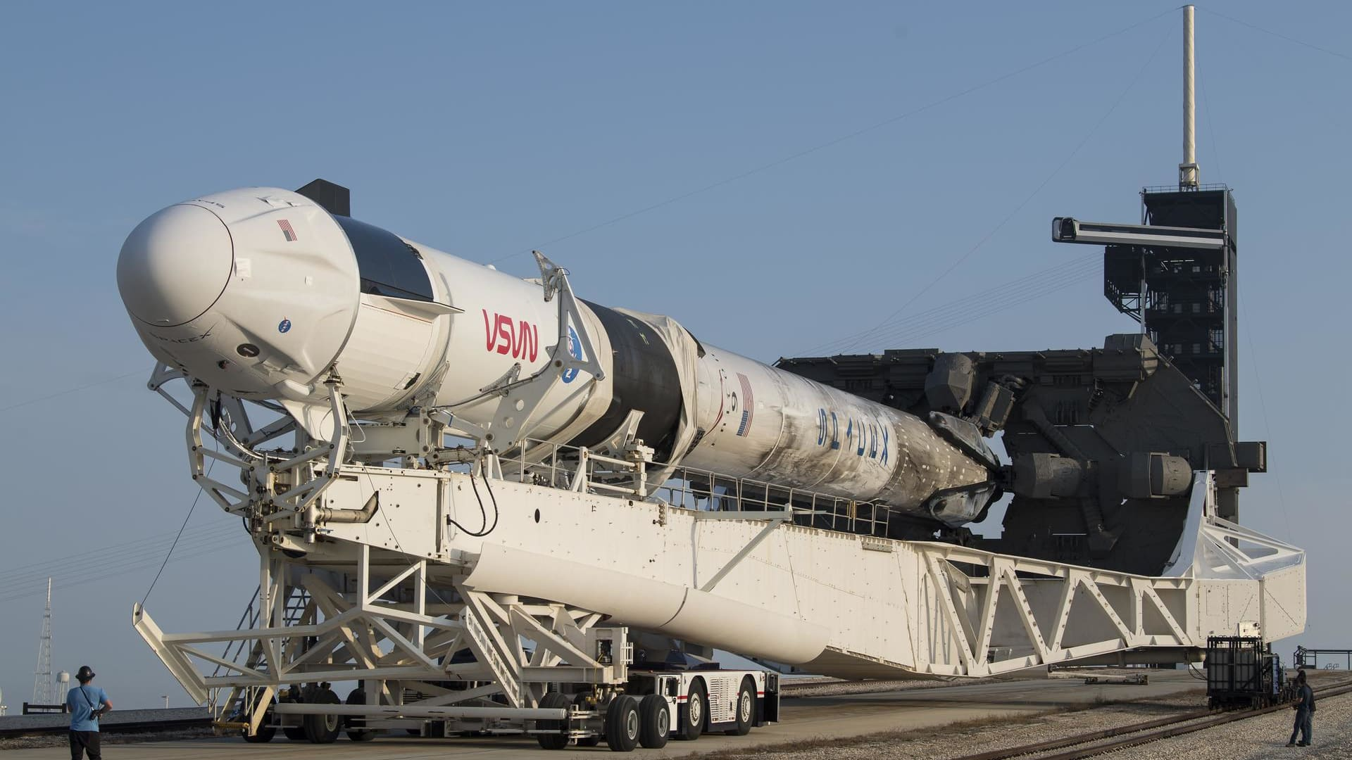 A SpaceX Falcon 9 rocket with the company's Crew Dragon spacecraft onboard is seen as it is rolled to Launch Complex 39A as preparations continue for the Crew-2 mission, Friday, April 16, 2021, at NASA's Kennedy Space Center in Florida.