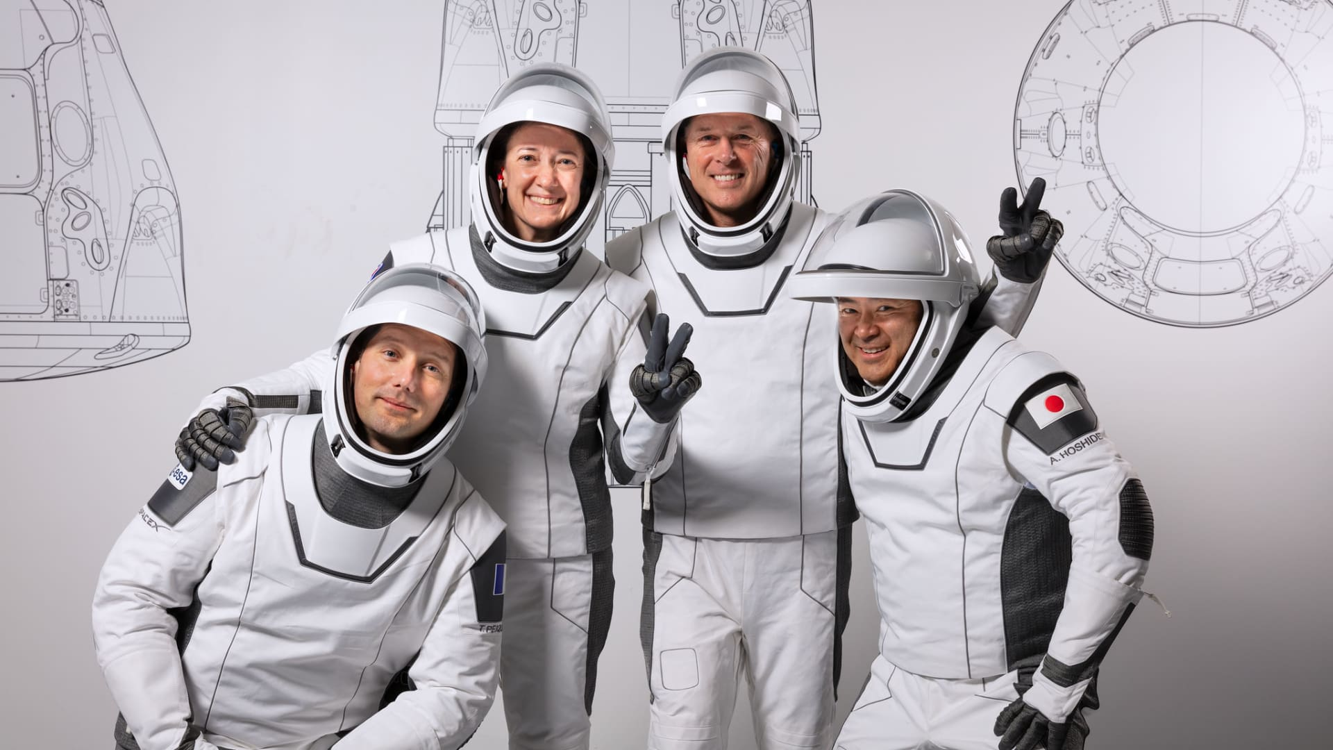 From left: Mission specialist Thomas Pesquet of the ESA, pilot Megan McArthur of NASA, commander Shane Kimbrough of NASA, and mission specialist Akihiko Hoshide of JAXA.