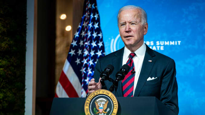 President Joe Biden delivers remarks during a virtual Leaders Summit on Climate with 40 world leaders at the East Room of the White House on April 22, 2021.