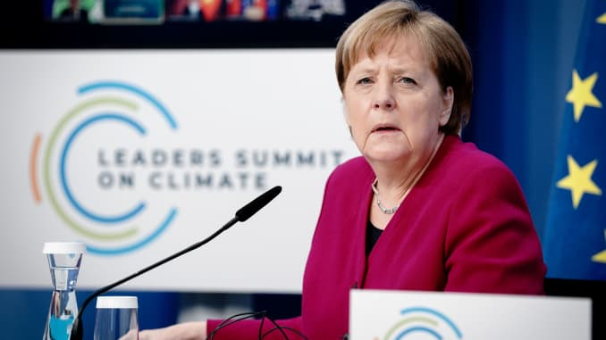 German Chancellor Angela Merkel attends a virtual Climate Summit with world leaders in Berlin, Germany, April 22, 2021.