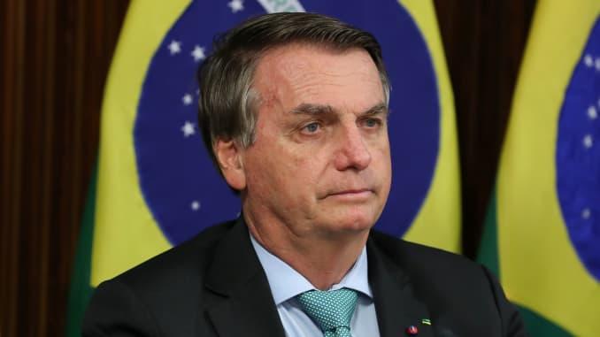 El president del Brasil, Jair Bolsonaro, assisteix a una cimera virtual sobre el clima a través d'un enllaç de vídeo a Brasília, Brasil, el 22 d'abril de 2021.