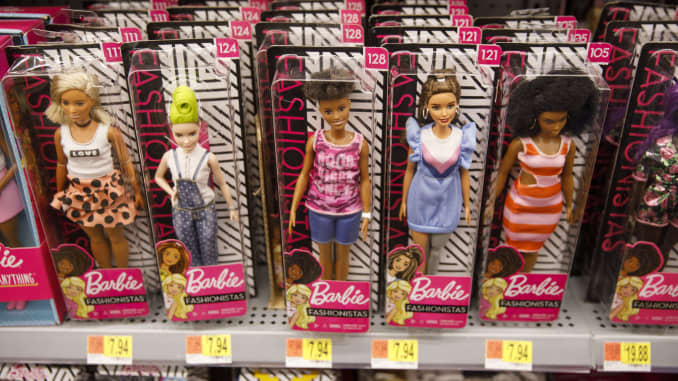Mattel Inc. Barbie brand dolls are displayed for sale at a Walmart Inc. store in Burbank, California, U.S., on Tuesday, Nov. 26, 2019. A PWC survey shows that 36% of consumers surveyed plan to shop on Black Friday. Deals will ultimately dictate where spen