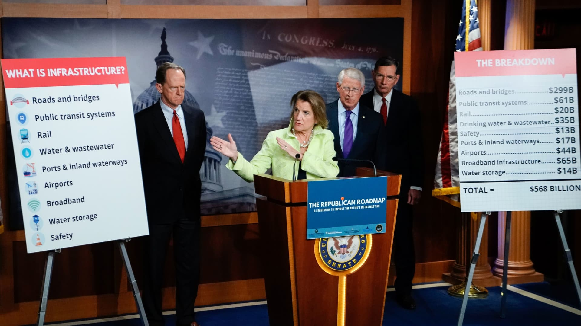 Shelley Capito (R-WV) speaks during a news conference to introduce the Republican infrastructure plan, at the U.S. Capitol in Washington, U.S., April 22, 2021.
