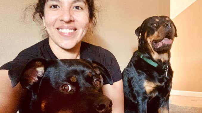 Melissa Gill at home with her dogs.