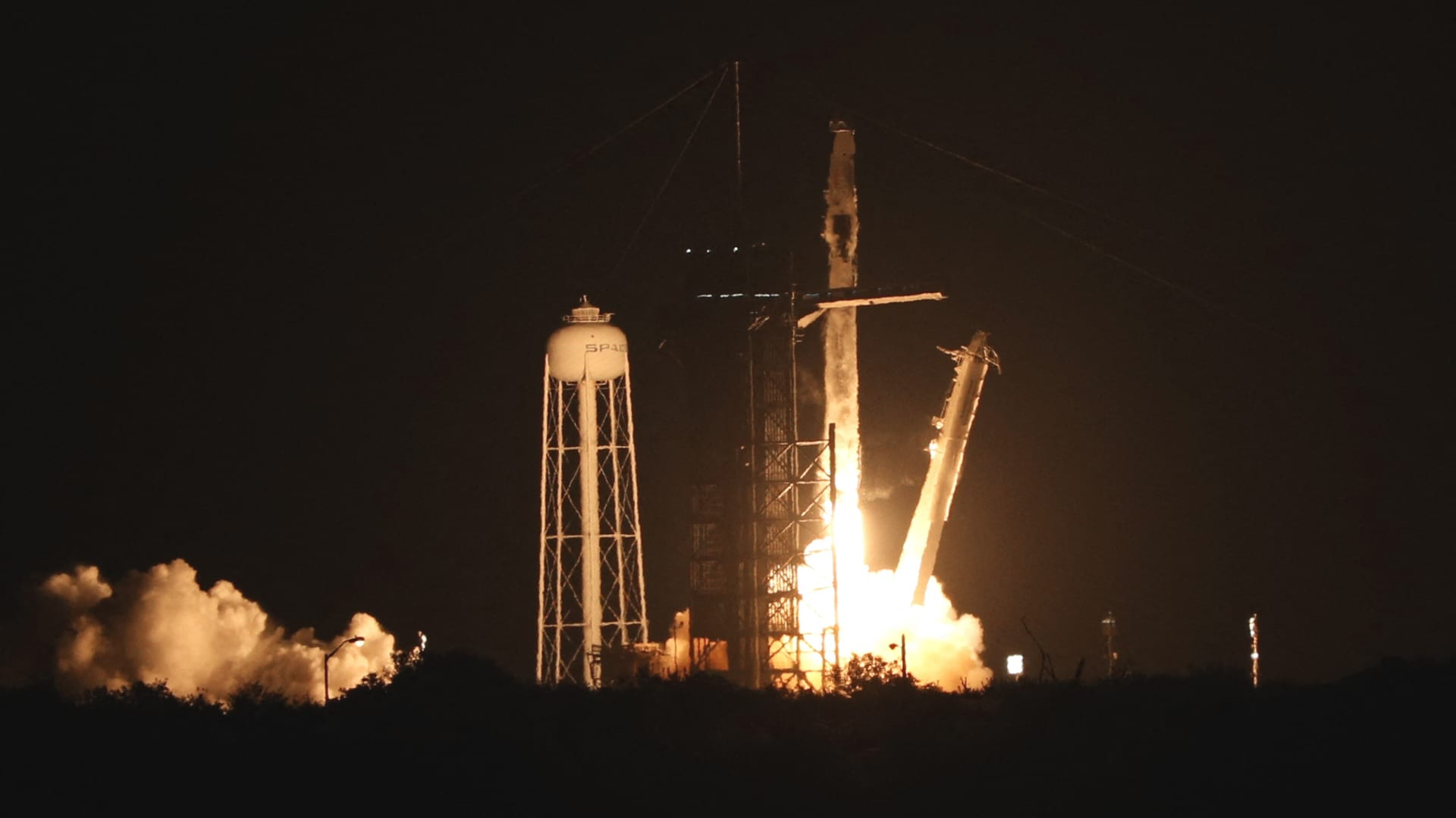 A SpaceX Falcon 9 rocket, carrying the Crew-2 mission astronauts, lifts off from launch complex 39A at the Kennedy Space Center in Florida on April 23, 2021.