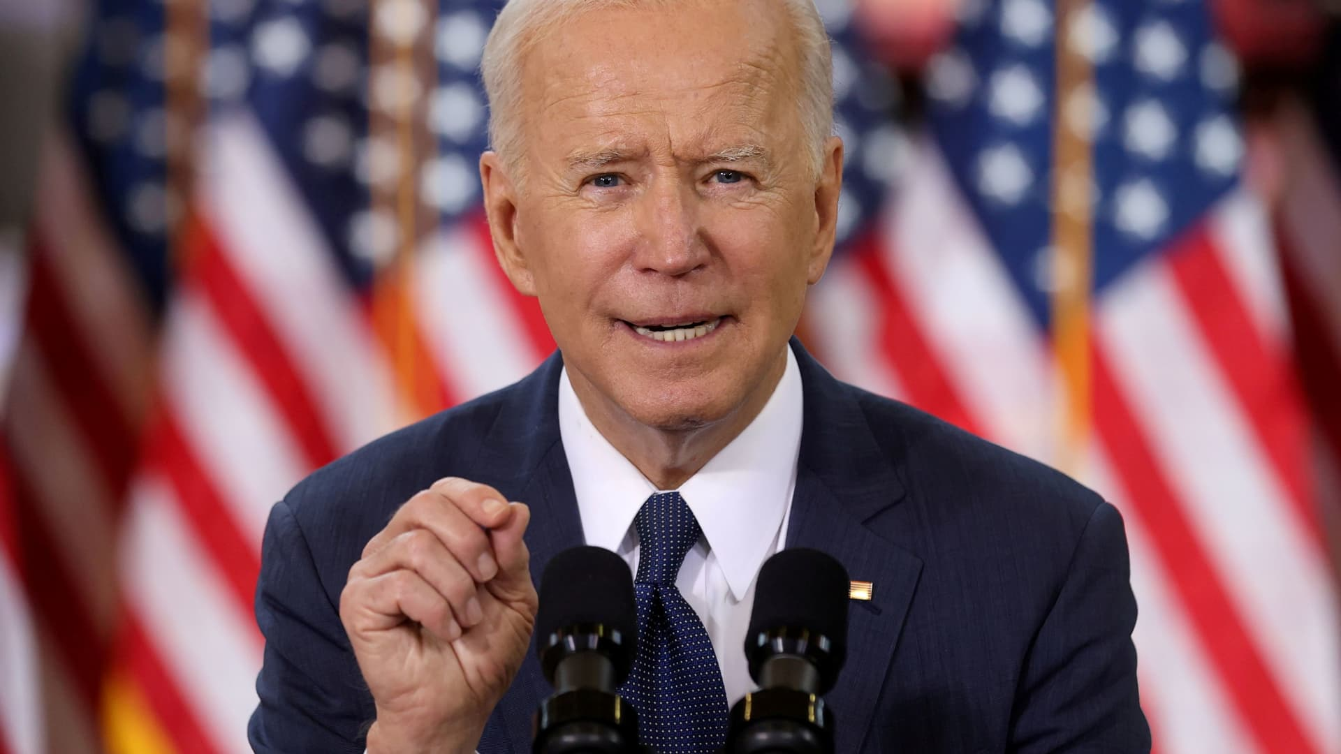 U.S. President Joe Biden speaks about his $2 trillion infrastructure plan during an event to tout the plan at Carpenters Pittsburgh Training Center in Pittsburgh, Pennsylvania, March 31, 2021.