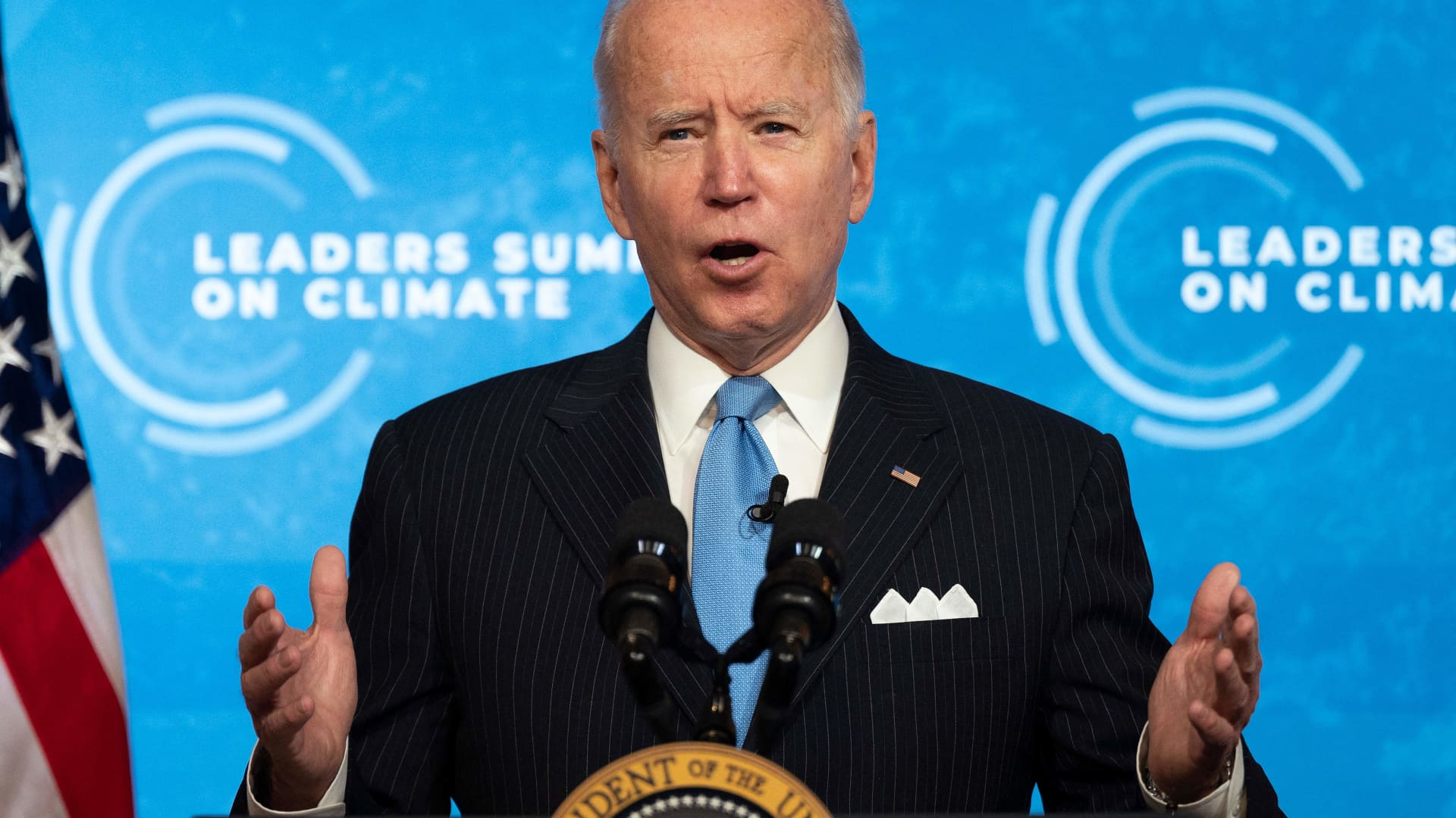 US President Joe Biden delivers remarks and participates in the virtual Leaders Summit on Climate Session 5: The Economic Opportunities of Climate Action from the White House in Washington, DC, on April 23, 2021.