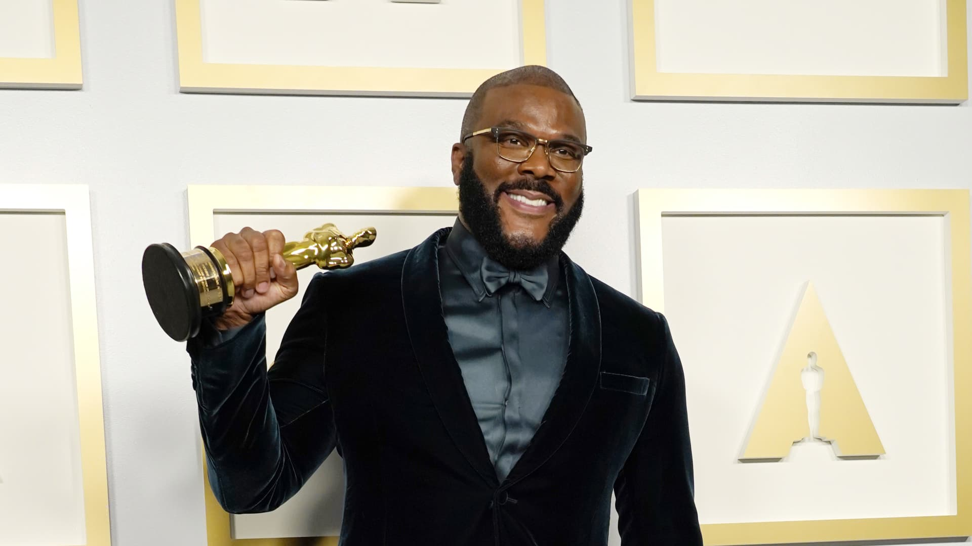 Tyler Perry, winner of the Jean Hersholt Humanitarian Award, poses in the press room during the Oscars on Sunday, April 25, 2021, at Union Station in Los Angeles.
