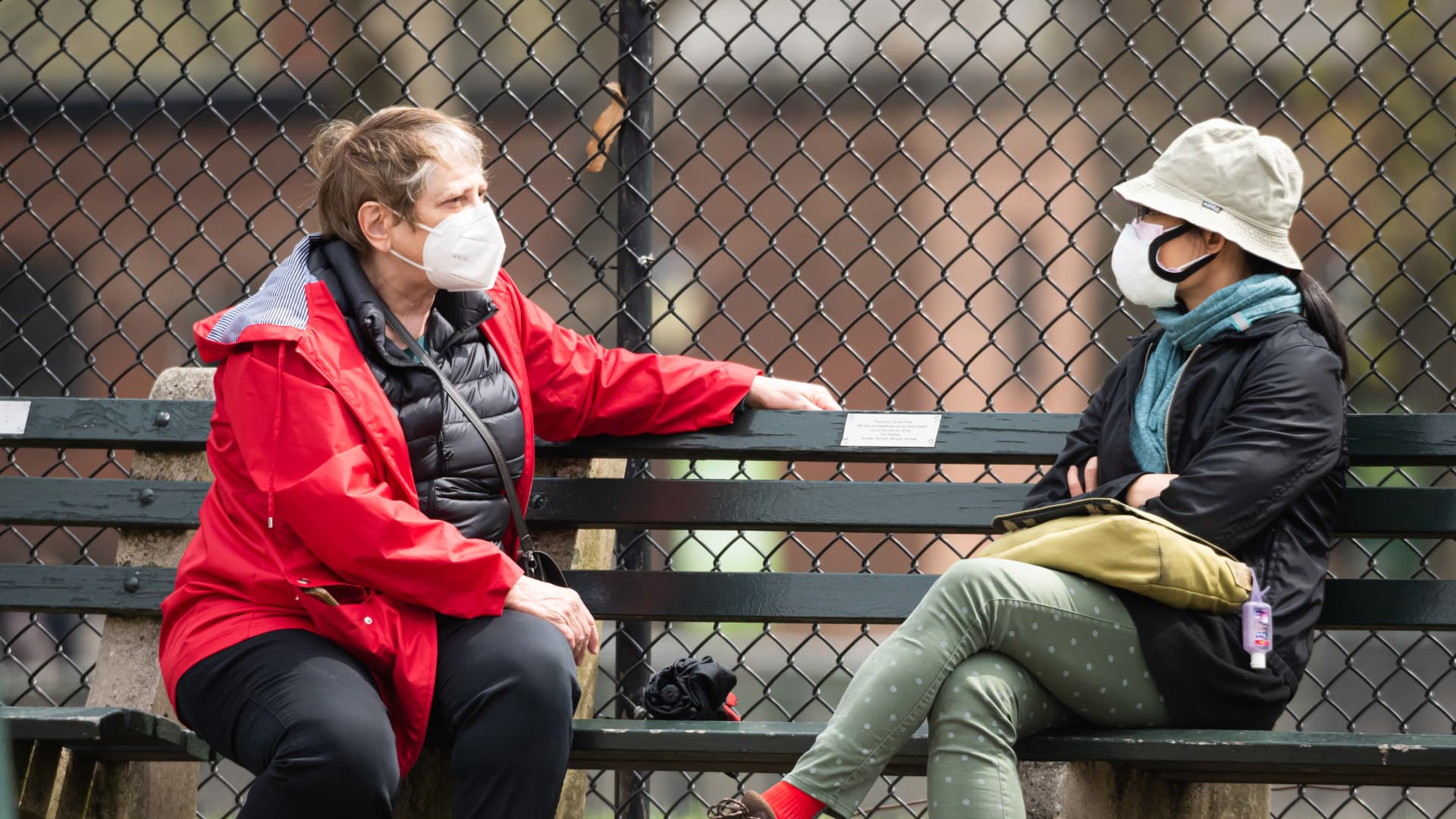 People wear face masks in Central Park on April 10, 2021 in New York City.