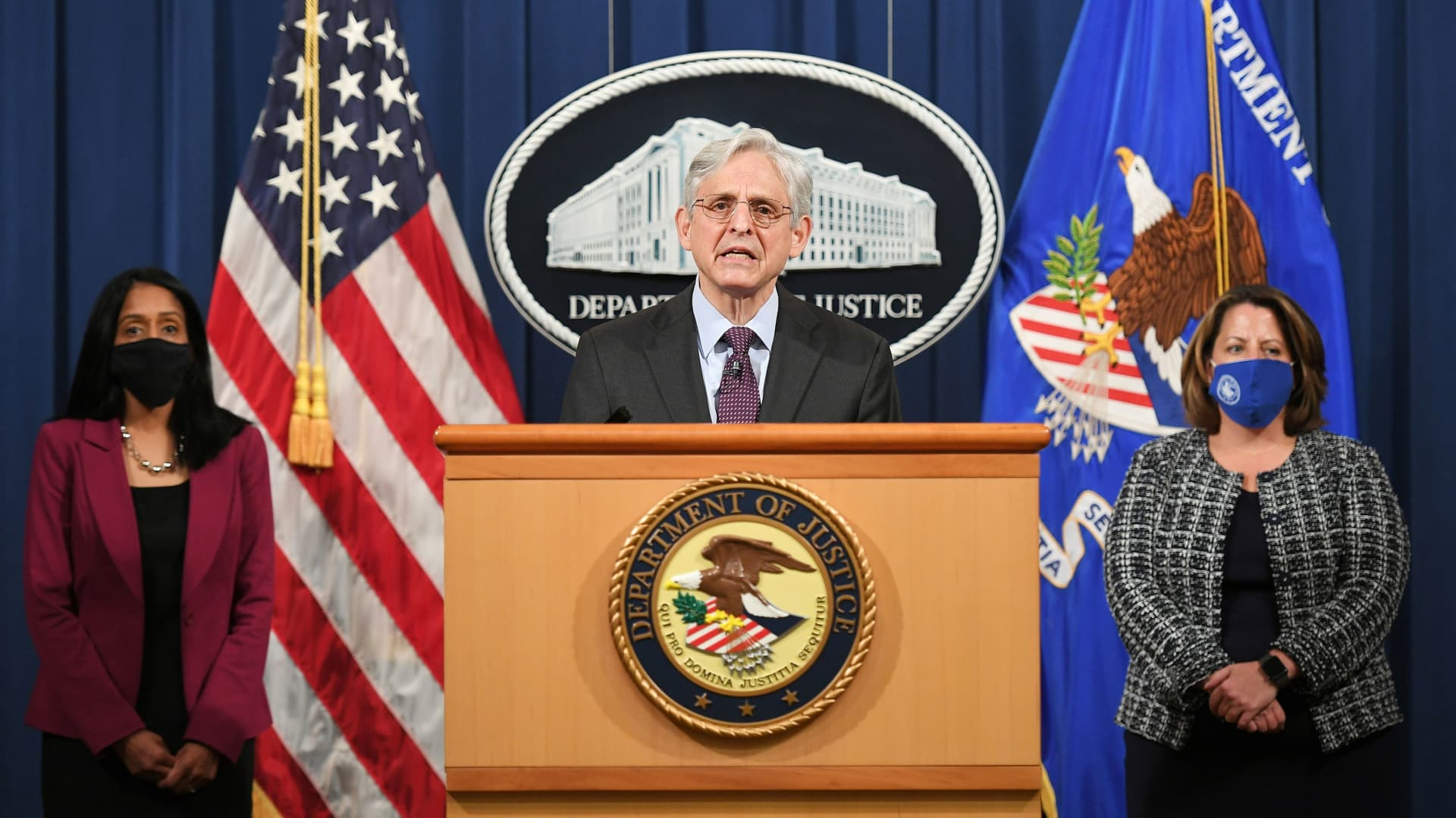 U.S. Attorney General Merrick Garland speaks at the Department of Justice in Washington, U.S. April 26, 2021.