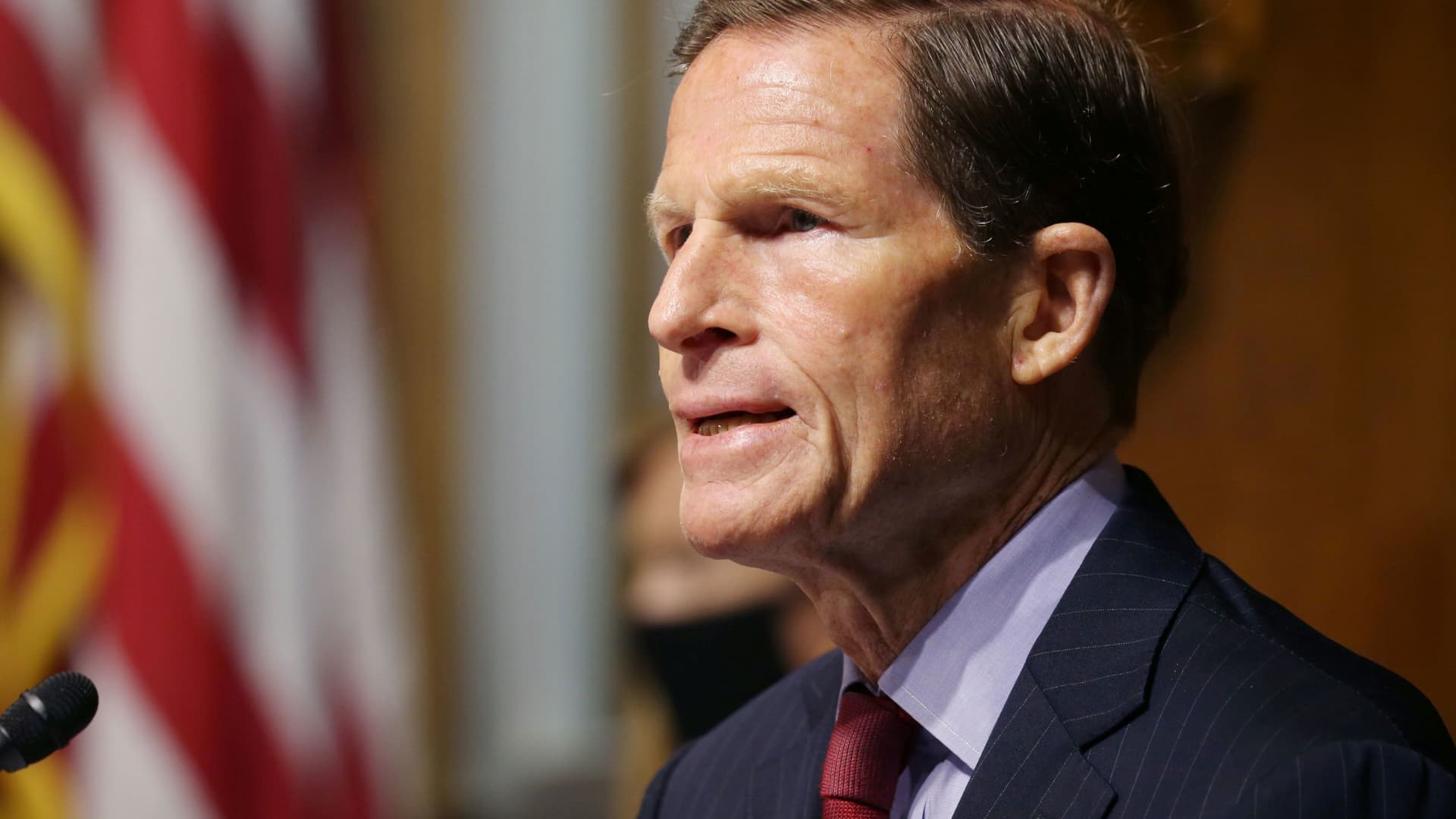 Sen. Richard Blumenthal, D-CT, asks questions during a hearing of the Senate Judiciary Subcommittee on Privacy, Technology, and the Law, at the U.S. Capitol in Washington DC, April 27, 2021.
