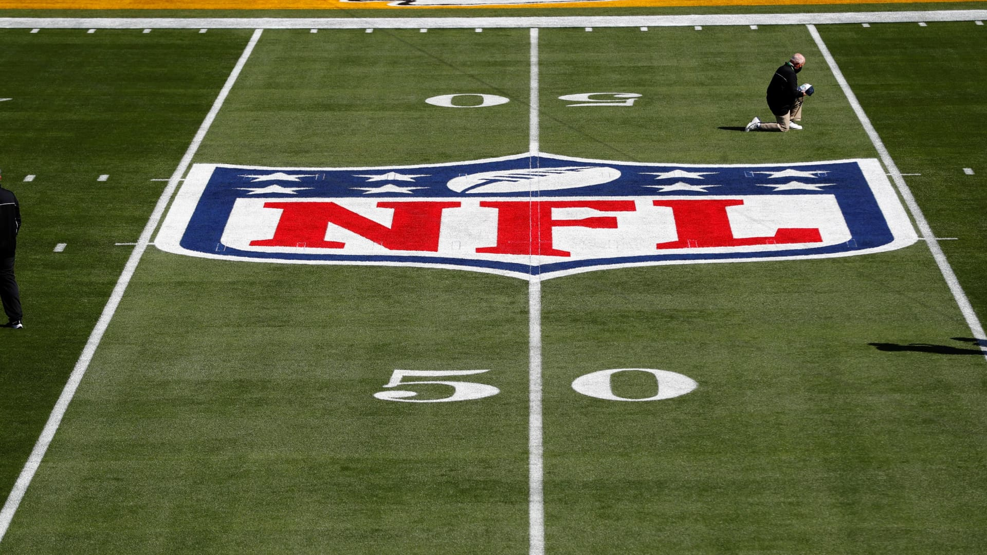 General view of the NFL Shield logo on the field before Super Bowl LV between the Tampa Bay Buccaneers and the Kansas City Chiefs at Raymond James Stadium.