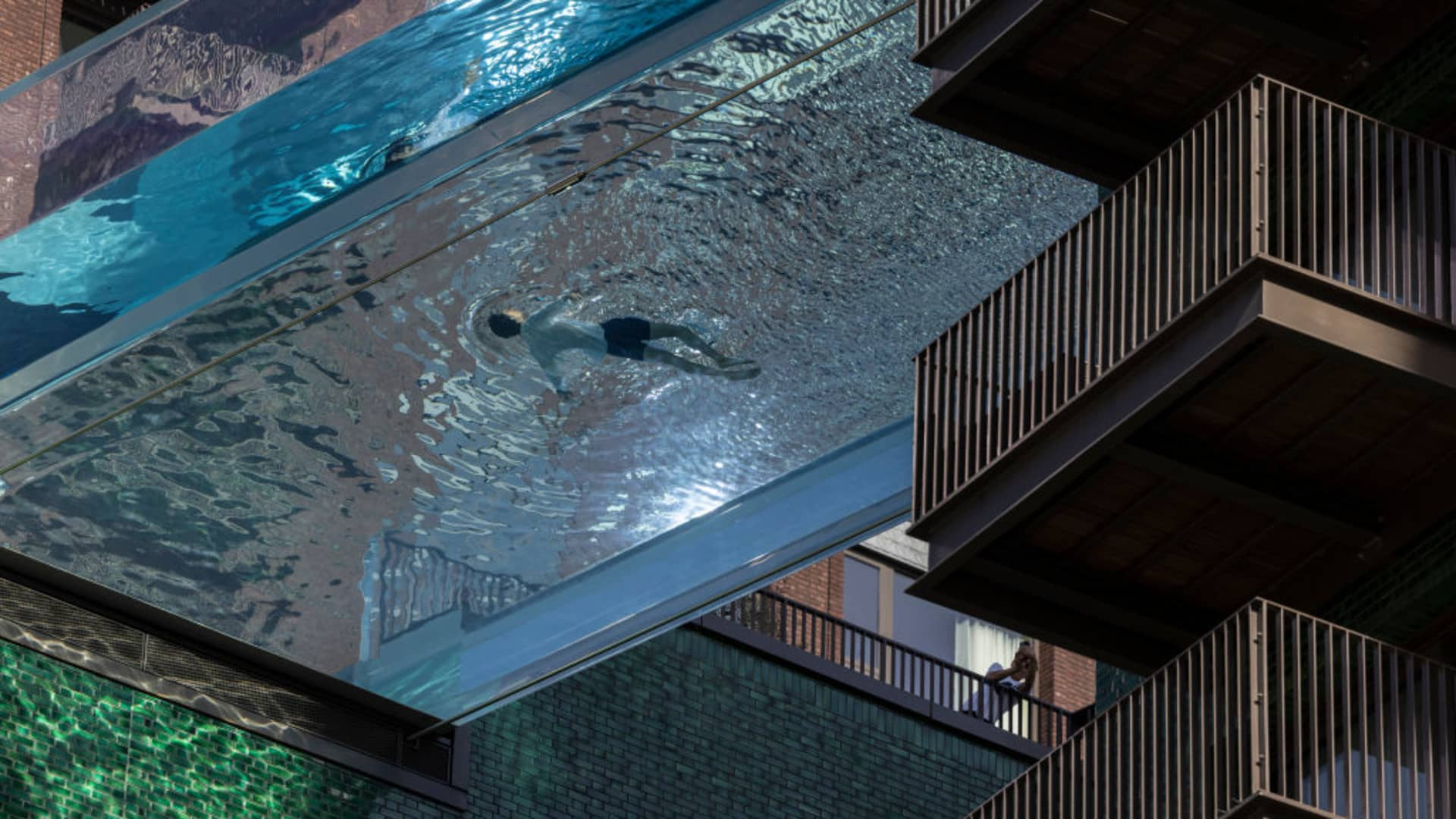 The new Sky Pool at Embassy Gardens in south-west London on April 23, 2021 in London, England.