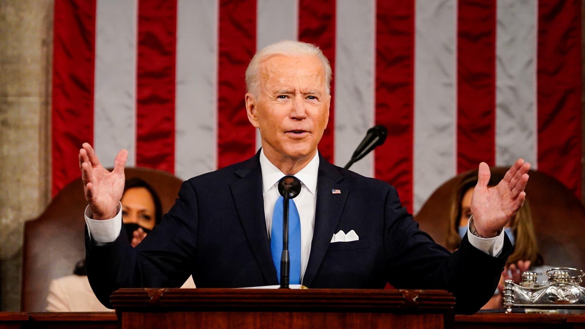 President Joe Biden addresses a joint session of Congress at the U.S. Capitol in Washington, DC, U.S. April 28, 2021.