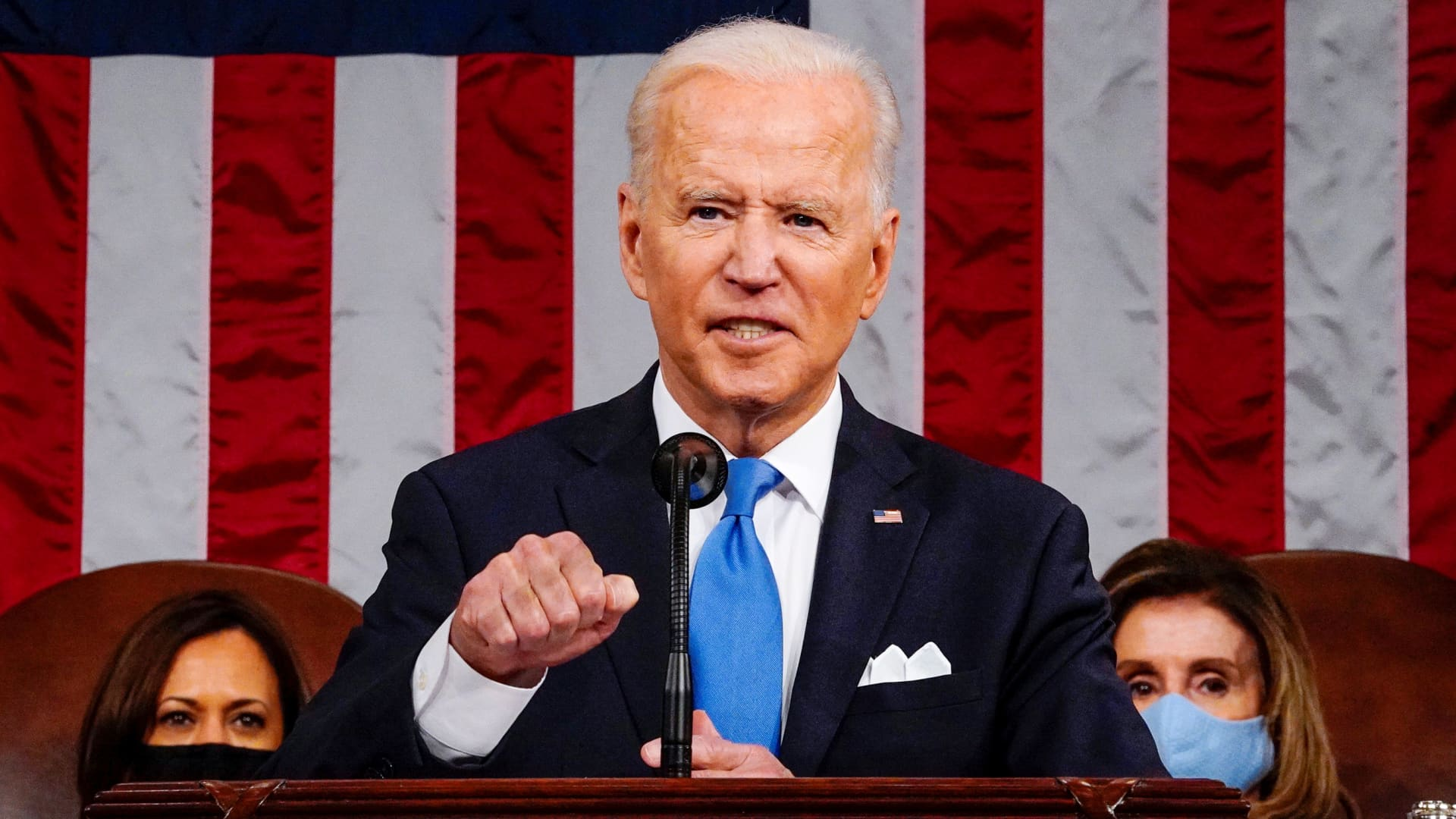 President Joe Biden addresses to a joint session of Congress in the House chamber of the U.S. Capitol in Washington, U.S., April 28, 2021.