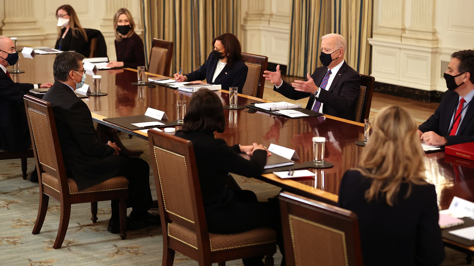 President Joe Biden and Vice President Kamala Harris meet with Cabinet members and immigration advisors in the State Dining Room on March 24, 2021 in Washington, DC.