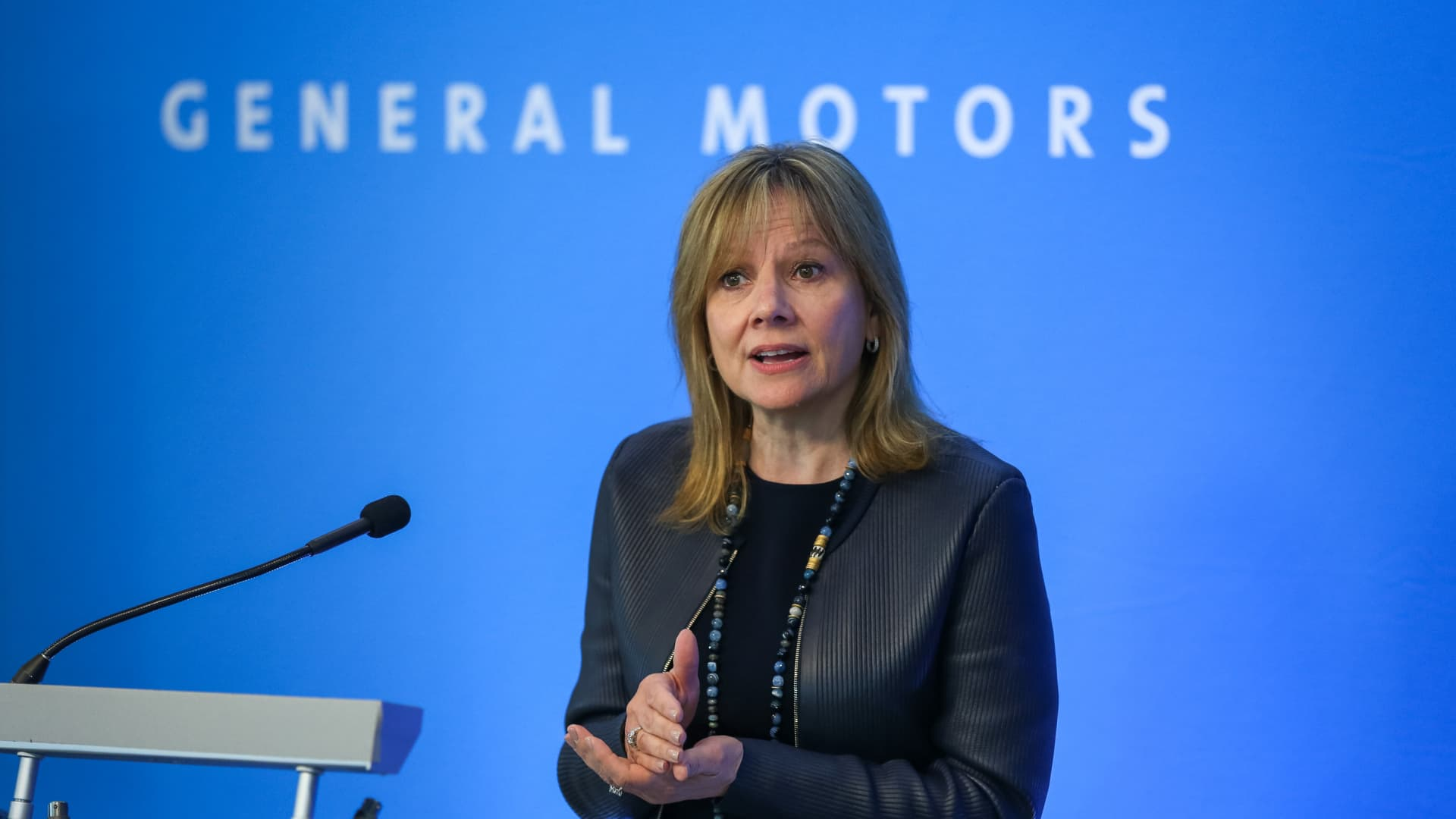 GM CEO Mary Barra talks with media prior to the start of the 2017 General Motors Company Annual Meeting of Stockholders Tuesday, June 6, 2017 at GM Global Headquarters in Detroit, Michigan.