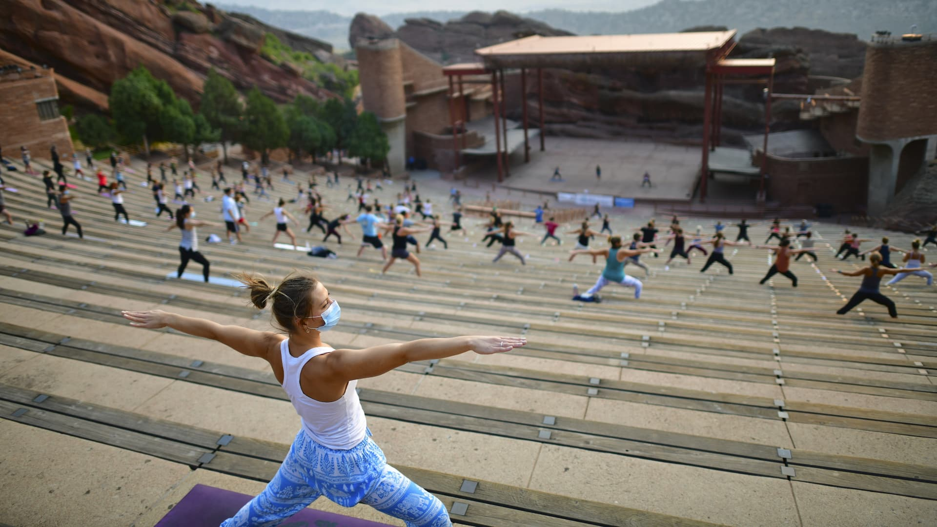 Dixie Strange, 30, at an Aug. 22, 2020, morning yoga session at the Red Rocks Amphitheatre in Morrison, Colorado.