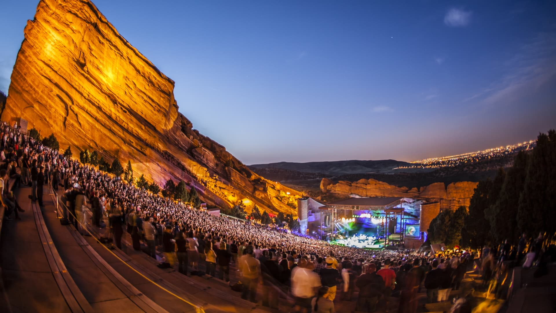 A concert at Red Rocks Park and Amphitheatre outside Denver.