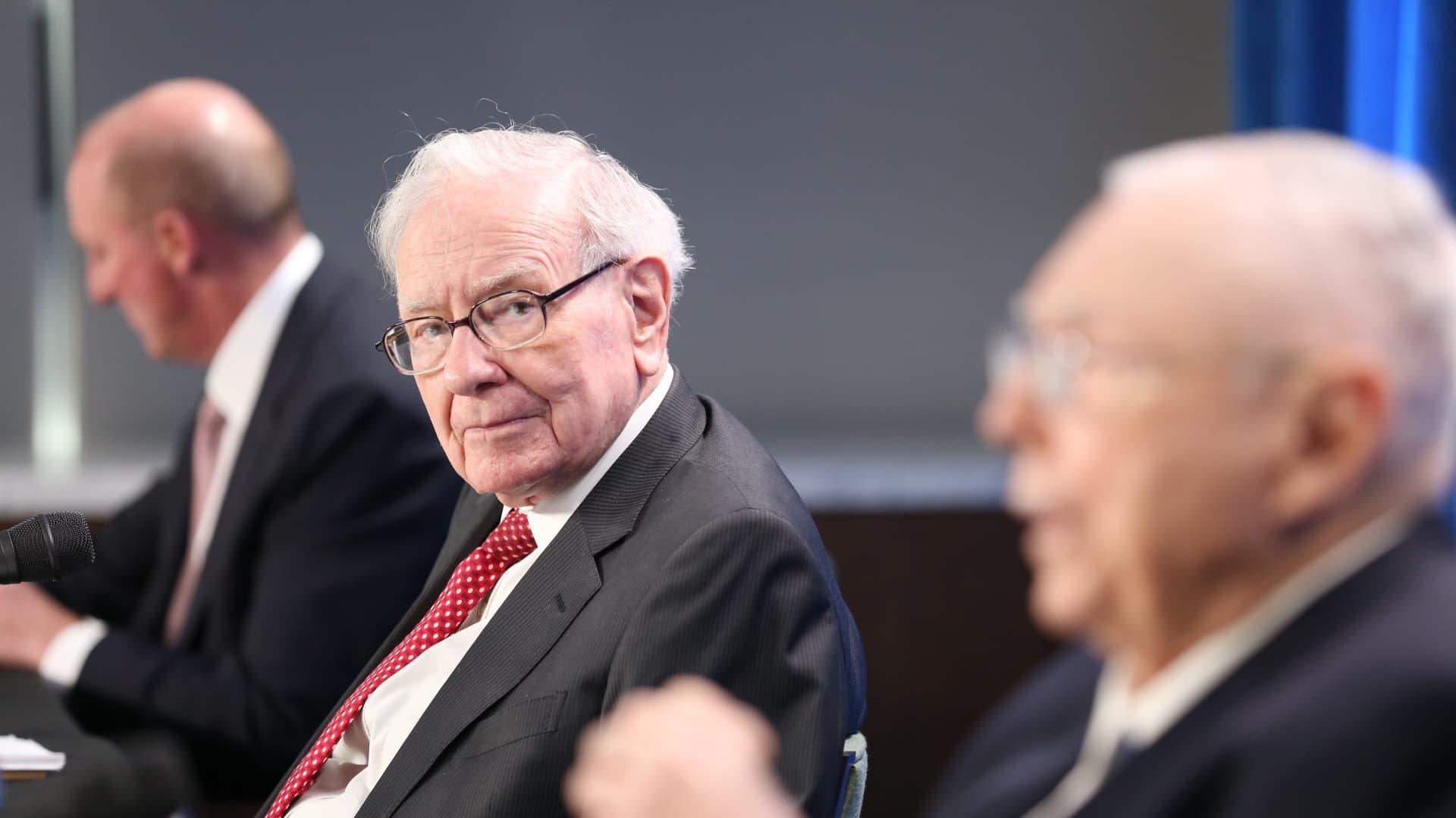 Warren Buffett at Berkshire Hathaway's annual meeting in Los Angeles California. May 1, 2021.