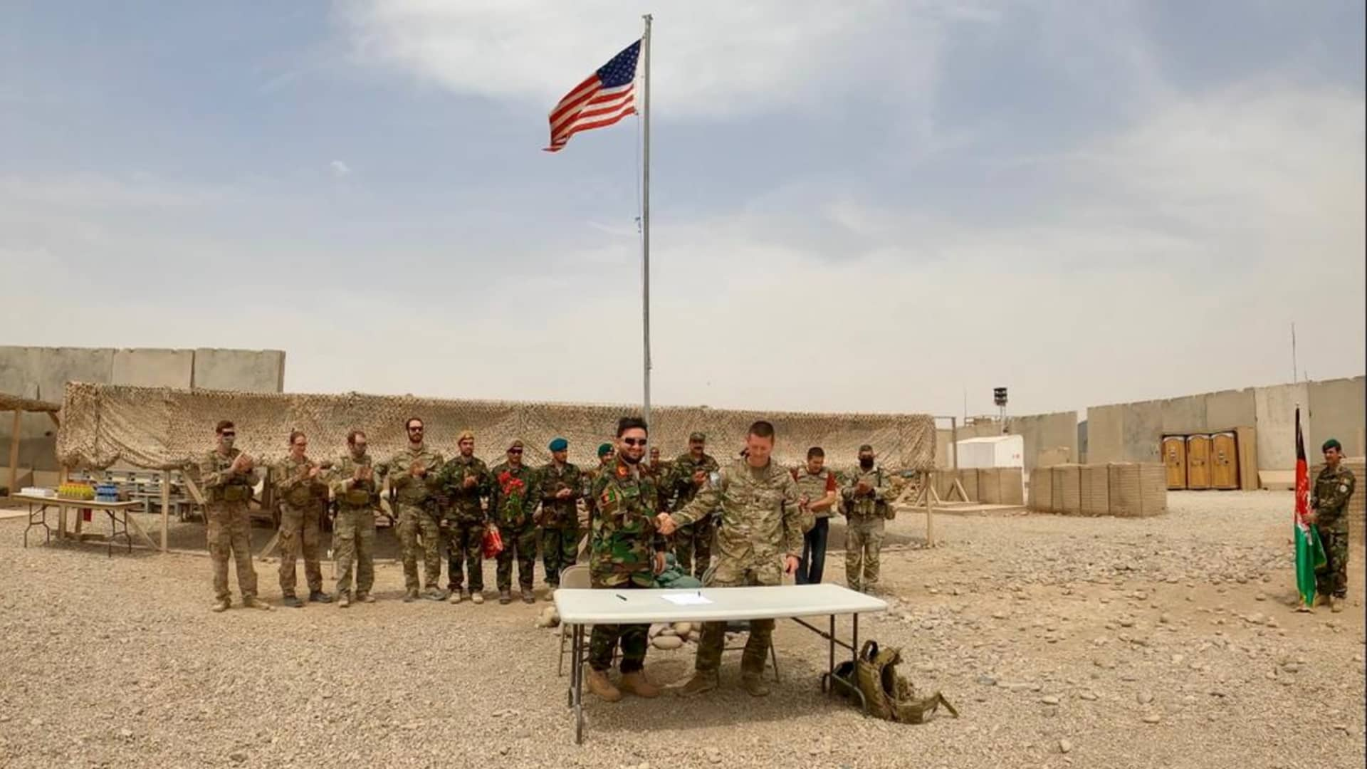 Handover ceremony at Camp Anthonic, from U.S. Army to Afghan Defense Forces in Helmand province, Afghanistan May 2, 2021.