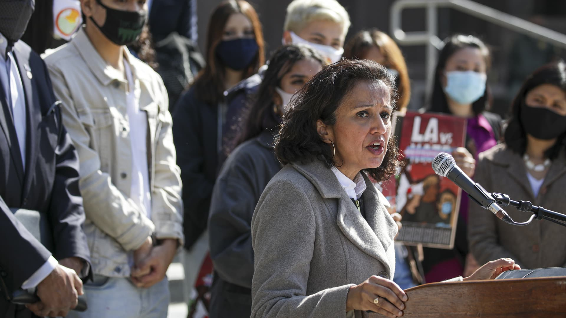 Manjusha Kulkarni, Asian Pacific Planning and Policy Council Executive Director, speaks against the hate and recent violence against Asian Americans at a rally held on the steps of County Hall of Administration on Wednesday, March 17, 2021 in Los Angeles, CA.