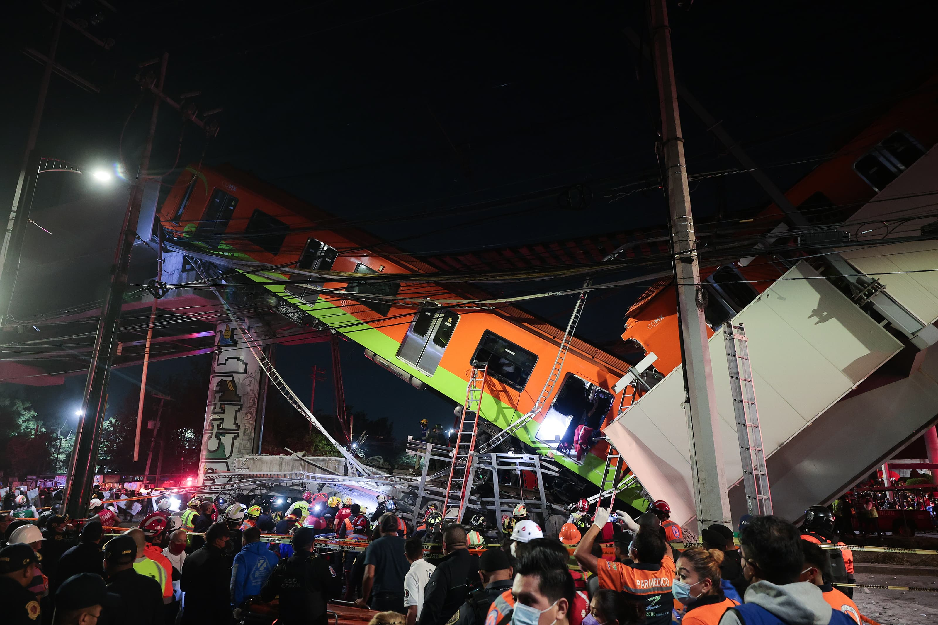Mexico City metro viaduct collapses on road killing at least 15 people
