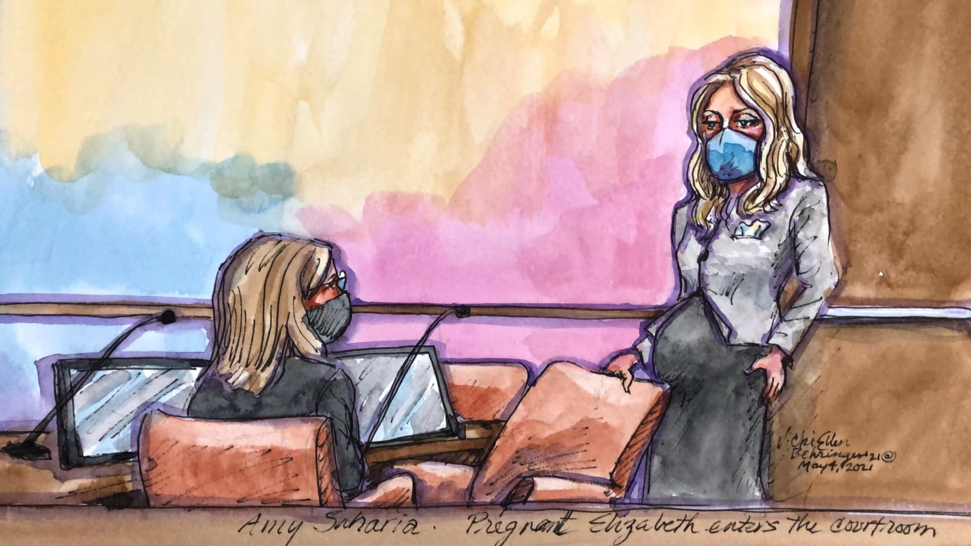 A courtroom sketch of former Theranos CEO Elizabeth Holmes' court appearance on May 4, 2021.