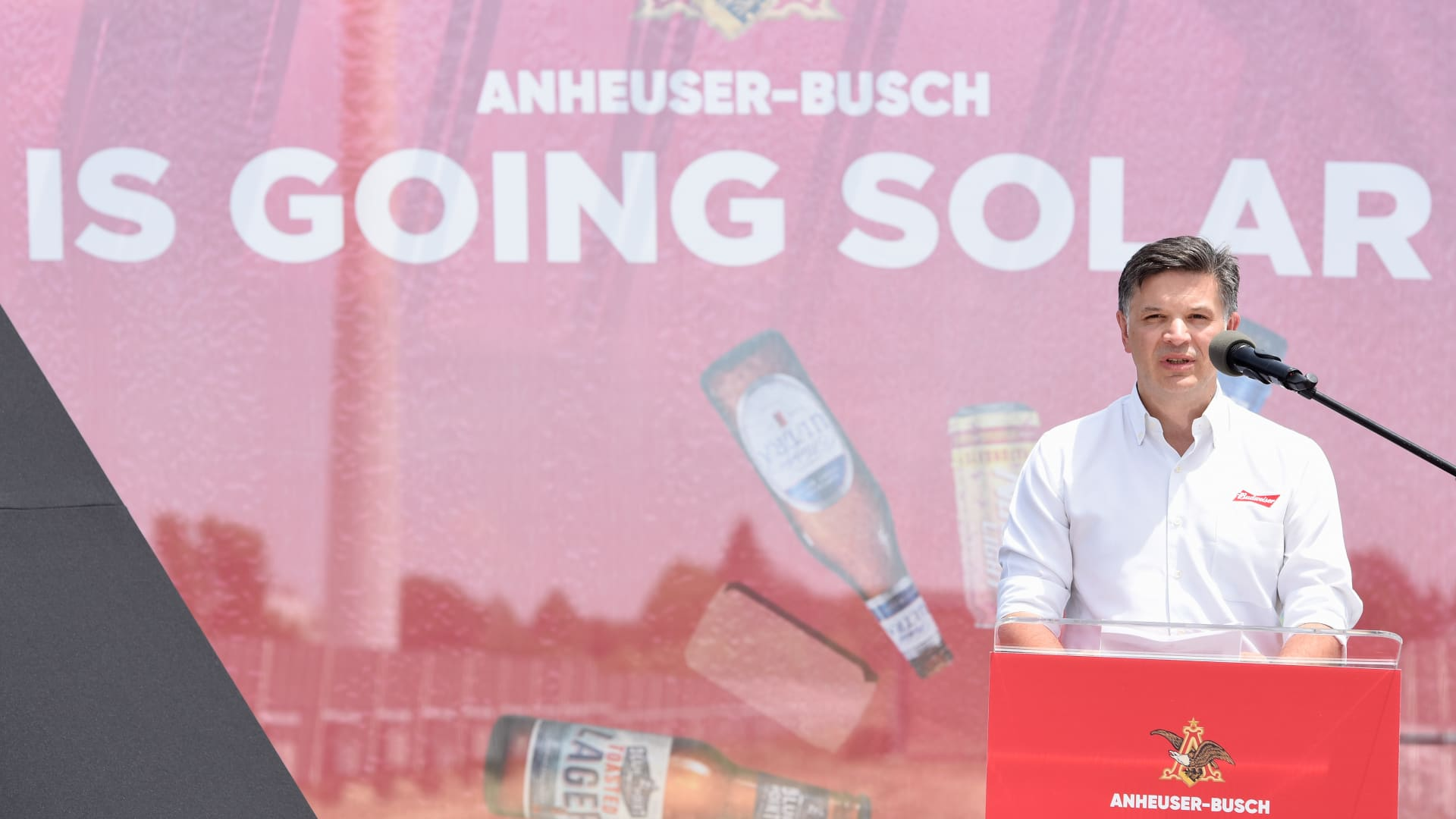 Michel Doukeris, North America CEO & President of Anheuser-Busch, speaks at the signing of a contract between Anheuser-Busch and the sun, at the Fairfield Brewery in Fairfield, California on June 5, 2019.