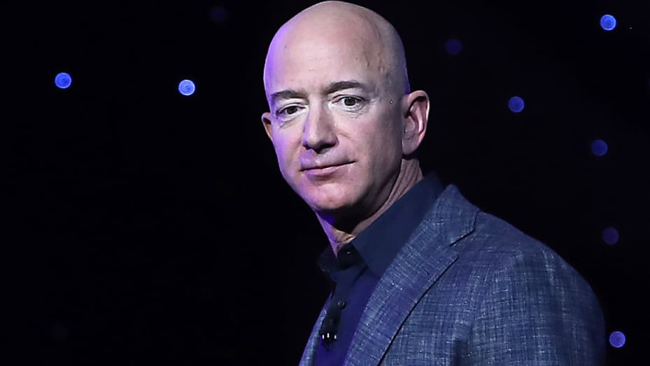Jeff Bezos, owner of Blue Origin, introduces a new lunar landing module called Blue Moon during an event at the Washington Convention Center, May 9, 2019 in Washington, DC.