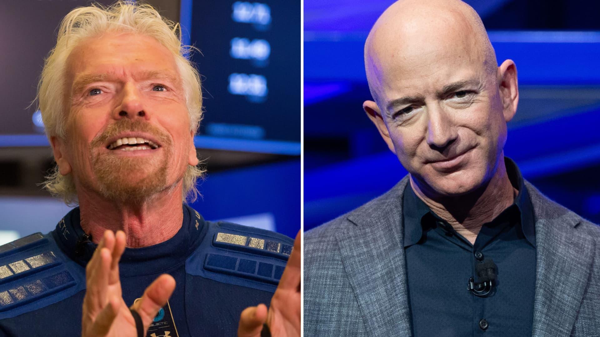 Virgin Galactic's Sir Richard Branson (L) and Blue Origin's founder Jeff Bezos.