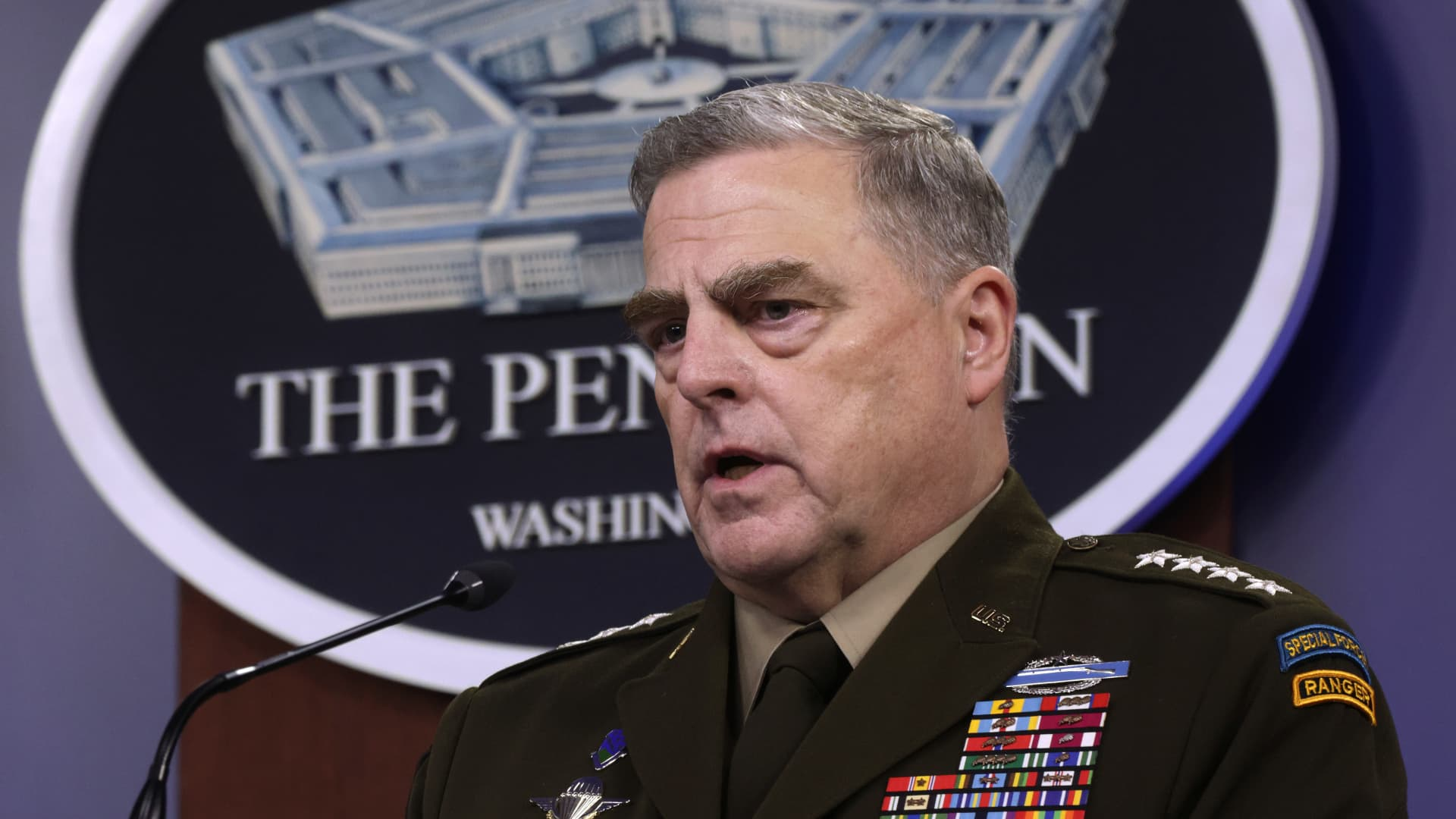 U.S. Chairman of the Joint Chiefs of Staff General. Mark Milley participates in a news briefing at the Pentagon May 6, 2021 in Arlington, Virginia.