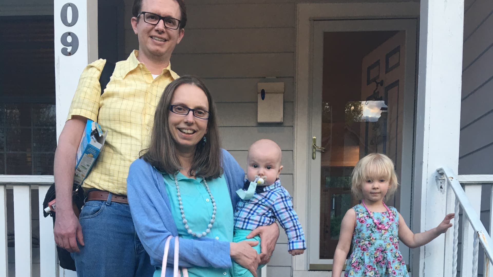 Stay-at-home dad Chris Hughes and his family.