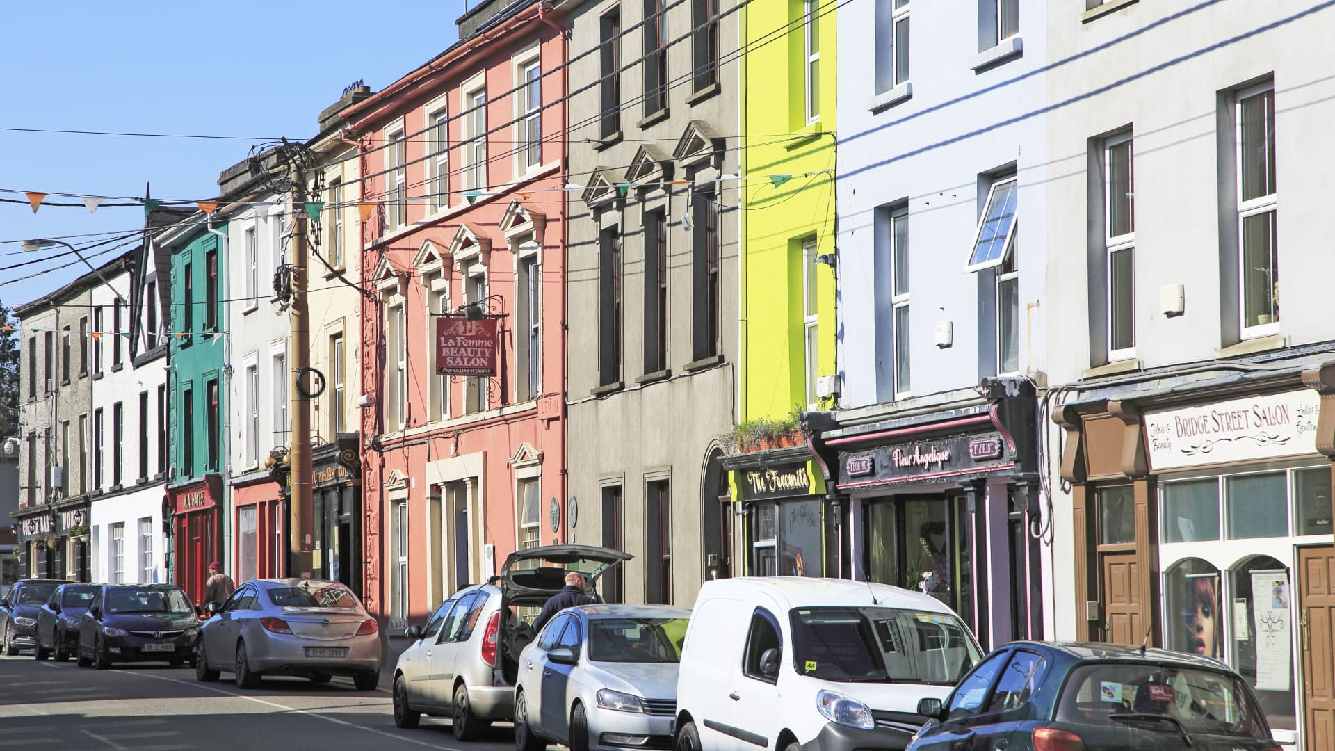 Terrace of historic shops and buildings, Skibbereen, County Cork, Ireland, Irish Republic. (Photo by: Geography Photos/Universal Images Group via Getty Images)