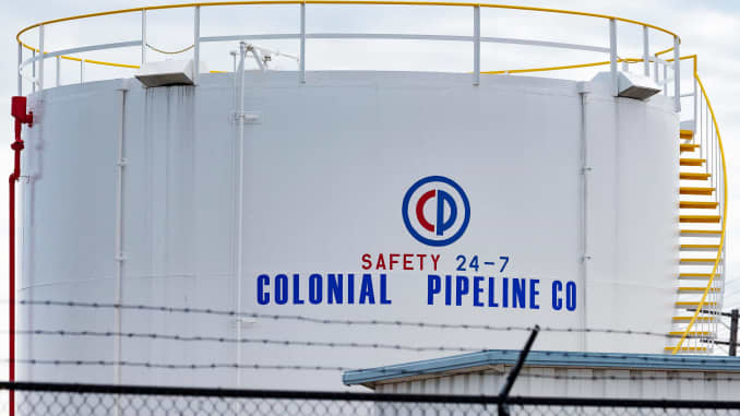 Fuel tanks are seen at Colonial Pipeline Baltimore Delivery in Baltimore, Maryland on May 10, 2021.