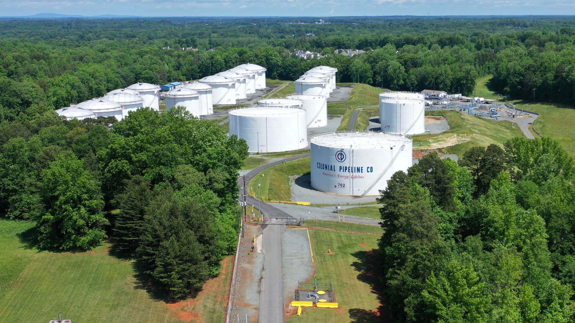 Holding tanks are seen in an aerial photograph at Colonial Pipeline's Charlotte Tank Farm in Charlotte, North Carolina, U.S. May 10, 2021.